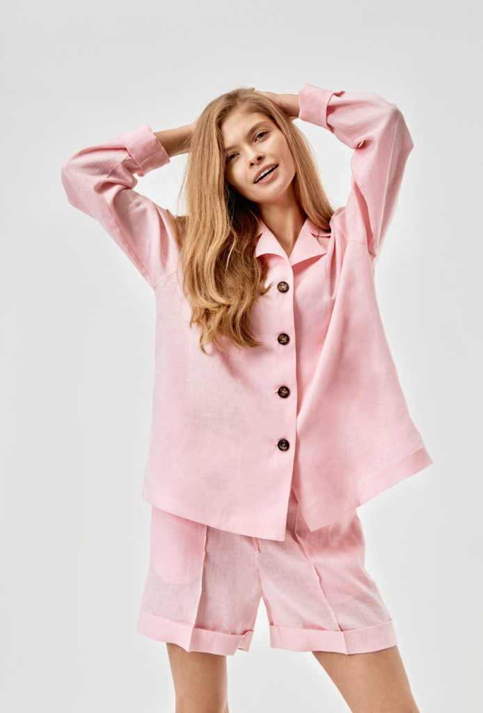 SL-03-RS_Sleeper_Bubble Gum Pajama Set with Shorts_220 USD