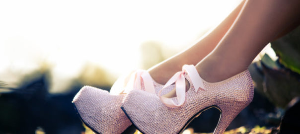 Close up of a pink high heels with little diamons